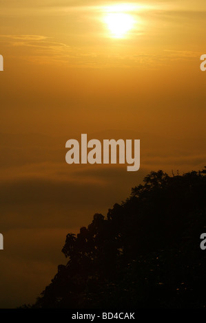 Sunrise seen from Cerro Pirre, near Cana field station, in Darien national park, Darien province, Republic of Panama. - Stock Photo