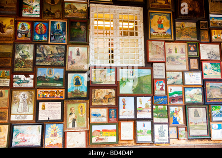 Votive art on the shrine of the Chapel of the Miraculous Image in Altötting Bavaria Germany - Stock Photo