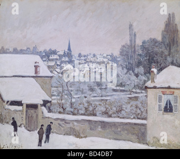 fine arts, Sisley, Alfred, (1839 - 1899), painting, 'Winter in Louveciennes', circa 1876, oil on canvas, 59,2 x 73 cm, Galler