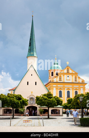 Altotting Bavaria Germany Europe - Chapel of the Miraculous Image and Church of St Magdalene in Kapellplatz Square - Stock Photo