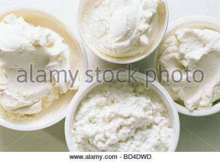 various types of cream cheese and cottage cheese in bowls stock rh alamy com what type of cottage cheese for lasagna type of cottage cheese for baby