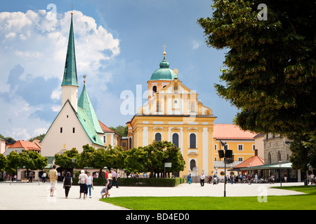 Chapel of the Miraculous Image and Church of St Magdalene in Kapellplatz Square, Altotting, Bavaria, Germany - Stock Photo