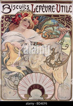 fine arts, Mucha, Alfons (1860 - 1939), poster, 1897, advertisement for Biscuits Lefevre-Utile, Lefevre Utile, Art - Stock Photo