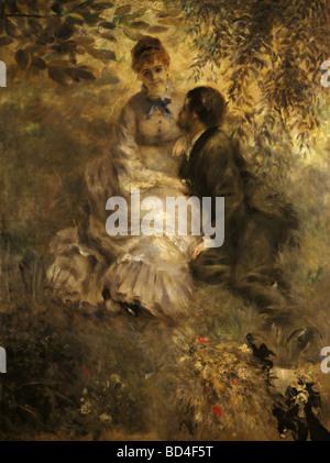 fine arts, Renoir, Auguste (1841 - 1919), painting, 'Lovers', circa 1880, Prague National Gallery, impressionism, people, cou