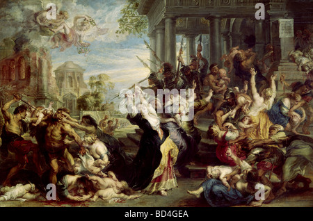 fine arts, Rubens, Peter Paul (1577 - 1640), painting, 'Massacre of the Innocents', oil on wood, circa 1636 - 1638, - Stock Photo