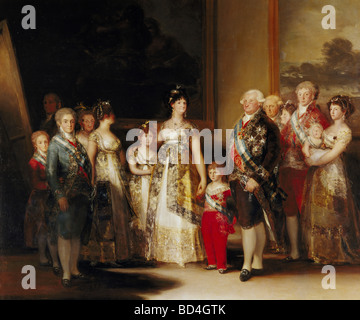 Charles IV, 11.11.1748 - 20.1.1819, King of Spain 1788 - 1808, full length, with his family, painting by Francisco - Stock Photo