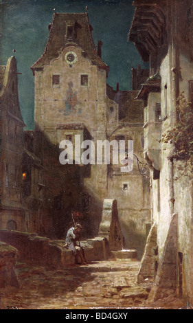 fine arts, Spitzweg, Carl (1808 - 1885), painting, 'The Sleeping Night Watchman', 1875, Museum Heidelberg, Germany, - Stock Photo