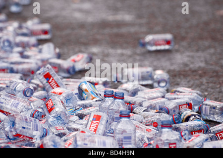 Discarded mineral water bottles after the London Marathon - Stock Photo