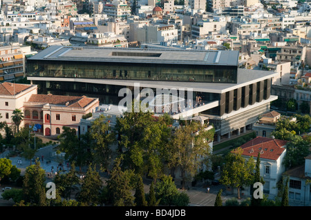 The New Acropolis Museum, viewed from the acropolis. - Stock Photo