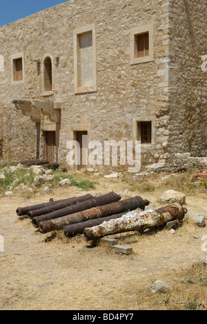 Cannons outside the House of Councillors at the Fortress of Fortezza Rethymnon Crete - Stock Photo
