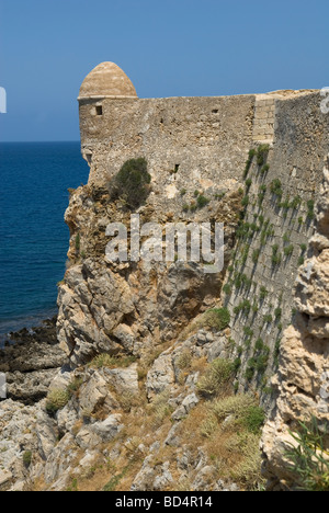Part of the wall and turret at the Fortress Fortezza at Rethymnon Crete - Stock Photo