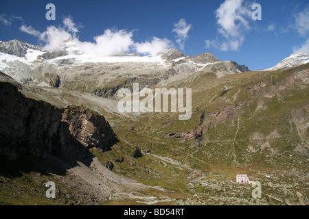Hotel Du Trift near Zermatt Valias Switzerland - Stock Photo