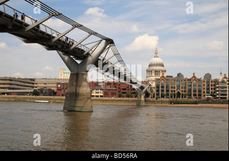The Millennium Bridge and St Pauls Cathedral as viewed from the south bank of the River Thames, London, UK. - Stock Photo