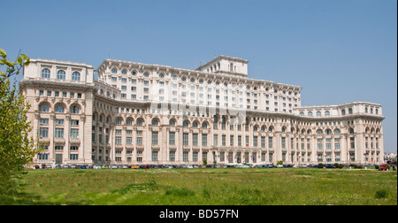 Romania's Palace of the Parliament or People's House (Casa Poporului) in Bucharest - Stock Photo