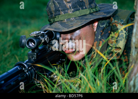 Soldier of the German special forces Kampfschwimmerkompanie in training, sniper with gun G 3 and telescopic sight, - Stock Photo