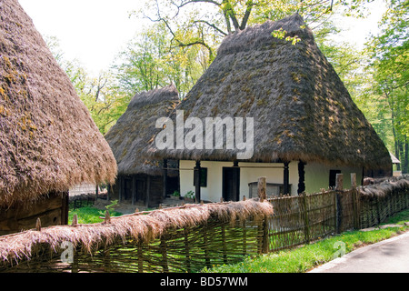 Romania's Museum of Traditional Folk Civilization, peasant homestead with thatch roof dwelling, at Sibiu in Transylvania - Stock Photo