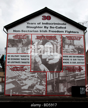 A five-panelled mural from the Loyalist/Unionist area of West Belfast, commemorating '30 years of indiscriminate - Stock Photo