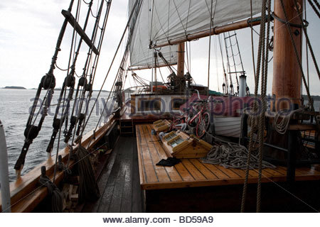 Deck view of m aux Kathrina at sea - Stock Photo