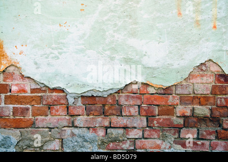 weathered obsolete old brick wall - Stock Photo