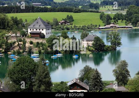Mattsee with castle, Flachgau, Salzburger Land, Land Salzburg, Austria, Europe - Stock Photo