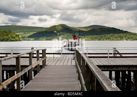 A passenger ferry on Ullswater, the Lake District, Cumbria, UK.