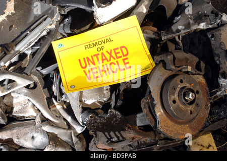 Untaxed car scrapped by the DVLA - Stock Photo