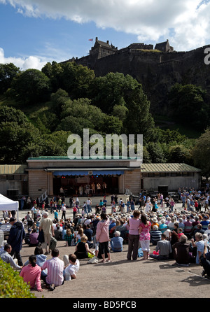 Edinburgh audience at Ross Bandstand with Castle in background during the annual Edinburgh Jazz Festival, Scotland, - Stock Photo