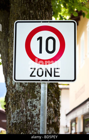 German 10 kph speed limit zone sign in a town in Germany, Europe - Stock Photo