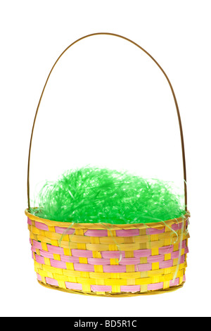 Basket With Easter Eggs Isolated On Pure White Background