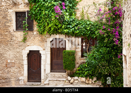 Front doorways to homes in St. Paul de Vence, Provence France - Stock Photo