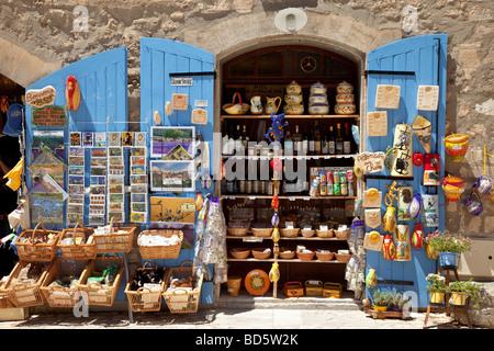Tourist shop in Les Baux, Provence France - Stock Photo