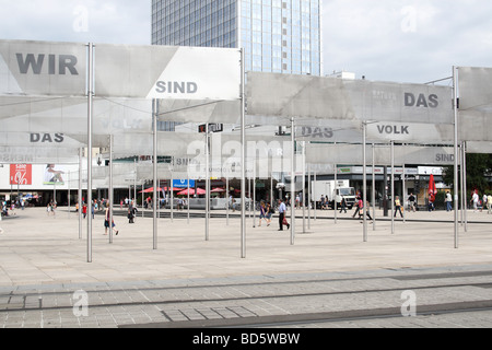 Exhibition on Alexanderplatz commemorating 20 years since the fall of the 'iron curtain' - Stock Photo