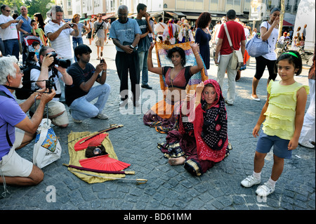 Paris France, Crowd of Tourists, Outside of 'George Pompidou Museum', Watching Female Indian Dancer, Street Performer - Stock Photo