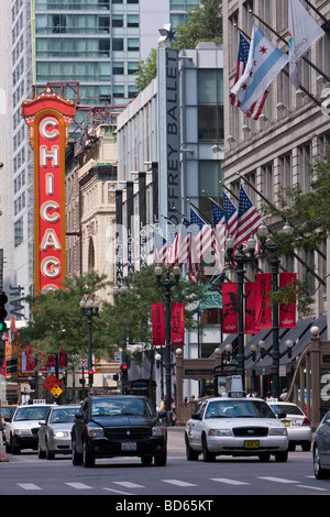 Chicago, Illinois. State Street, Macy's Department Store on right, formerly Marshall Field's.  Chicago Theater in - Stock Photo