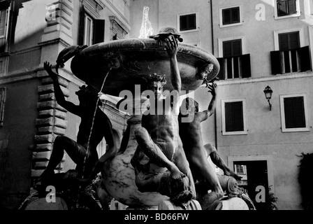 Fontana delle Tartarughe Piazza Mattei, Rome, Italy - Stock Photo