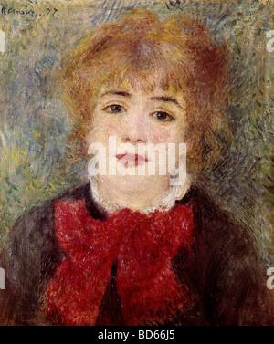fine arts, Renoir, Auguste (1841 - 1919), painting, 'Portrait of Jeanne Samary', 1877, Comedie Francaise, Paris, impressionis