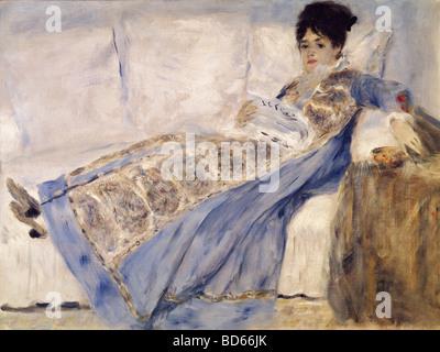 fine arts, Renoir, Auguste (1841 - 1919), 'Madame Monet', oil on Canvas, 1872, Gulbenkian Collection, Lissabon, impressionism