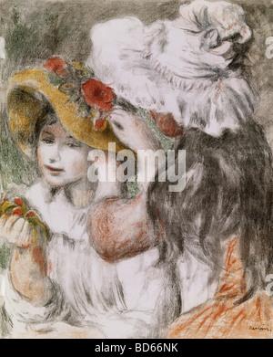 fine arts, Renoir, Auguste (1841 - 1919), graphic, 'The pinned-up hat', colour lithograph, 1898, Saarlandmuseum, Saarbrucken,