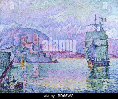 fine arts, Signac, Paul, (1863 - 1935), painting, 'Antibes, Evening', 1914, oil on canvas, Musee de la Ville, Strasbourg, - Stock Photo
