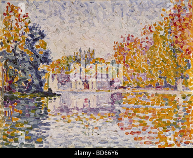 fine arts, Signac, Paul, (1863 - 1935), painting, 'Seine near Samois', 1899, oil on canvas, Neue Pinakothek, Munich, - Stock Photo