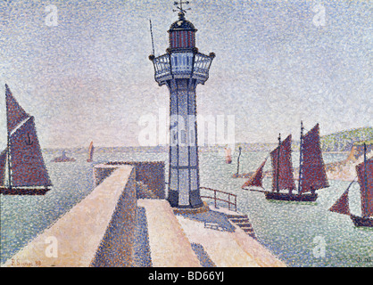 fine arts, Signac, Paul, (1863 - 1935), painting, 'Portrieux, Le Phare', 1888, Rijksmuseum Kröller-Müller, Otterlo, - Stock Photo