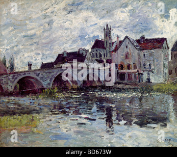 fine arts, Sisley, Alfred, (1839 - 1899), painting, 'The Bridge of Moret', 1887, oil on canvas, Nouveau Musee du Havre, Frenc