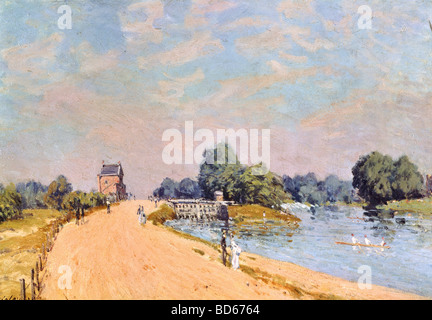 fine arts, Sisley, Alfred, (1839 - 1899), painting, 'The road in Hampton', 1874, oil on canvas, 38,8 x 55,4 cm, Neue Pinakoth
