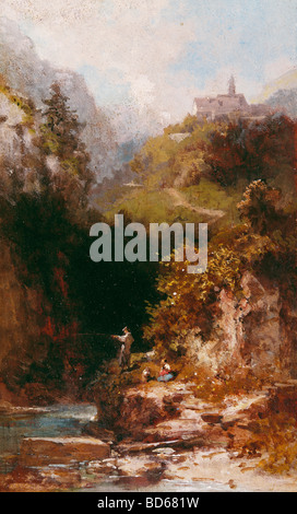 fine arts, Spitzweg, Carl (1808 - 1885), painting, 'The Angler', Nusser Gallery, Munich, Karl, German, Biedermeier, - Stock Photo