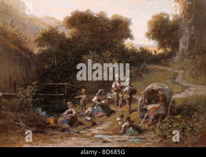 fine arts, Spitzweg, Carl (1808 - 1885), painting 'Zigeunerlager' (Gipsy's Camp), oil on cardboard, private collection, - Stock Photo