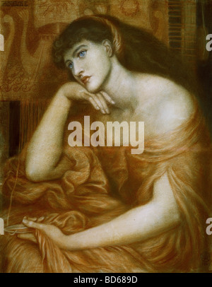 fine arts, Rossetti, Dante Gabriel (1828 - 1882), painting, 'Penelope', oil on canvas, 1869, symbolism, preraffaelites, - Stock Photo