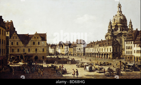 fine arts, Bellotto, Bernardo, called Canaletto (20.5.1722 - 17.11.1780), painting 'Der Neumarkt in Dresden von - Stock Photo