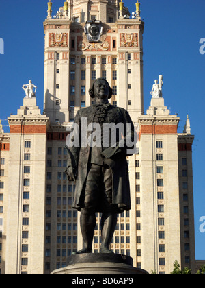 Statue of Mikhail Lomonosov at Moscow State University - Stock Photo