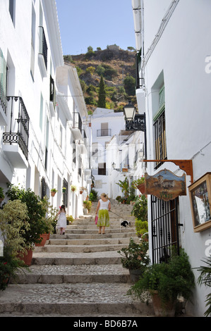 Calle El Garral, Frigiliana, Costa del Sol, Malaga Province, Andalusia, Spain - Stock Photo