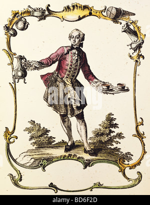 fine arts, Nilson, Johannes Esaias (1721 - 1788), graphic, 'Footman in livery with coffeepot and 2 cups', copper - Stock Photo